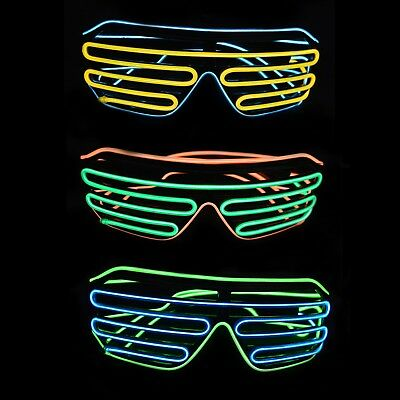 Light Up EL Shutter Shades Nightclub Rave Props Parties • 9.99£