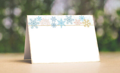 SOFT WINTER SNOWFLAKES TENT STYLE WEDDING PLACE CARDS Or TABLE CARDS #485 • 4.75$