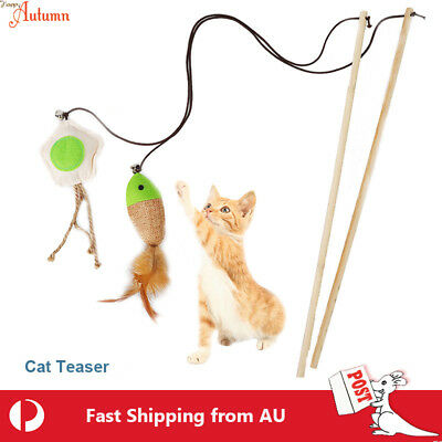 AU6.49 • Buy Cat  Play Toy Feather Teaser Wand Interactive Stick Kitten Pet Fun Fish
