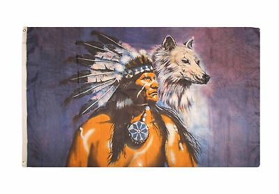 $7.77 • Buy INDIAN WITH WOLF FLAG 3' X 5' - NATIVE AMERICAN FLAGS 90 X 150 Cm - BANNER 3x5 F