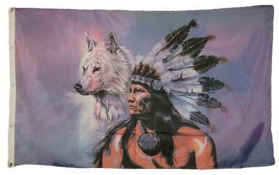 $7.33 • Buy 3 X 5 Indian And White Wolf Flag With Grommets