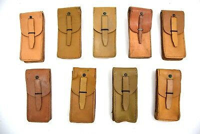 3 X French Army Leather Pouches Ammo Pouch Original Tan Leather M49 1960's MAB • 9.99£