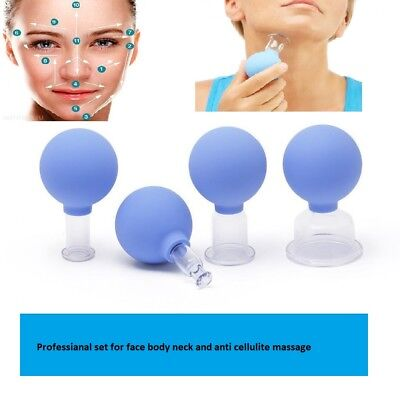 Set Of 4 Cup Glass Cupping  Vacuum Massage Anti Cellulite Face Neck Body Suction • 24.04£