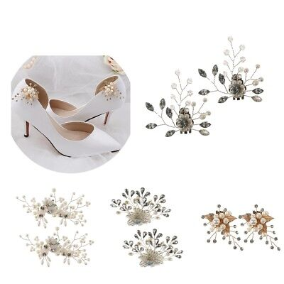 £4.86 • Buy 1 Pair Rhinestone Pearl Shoe Clips Wedding Party Shoes Charm Decorations