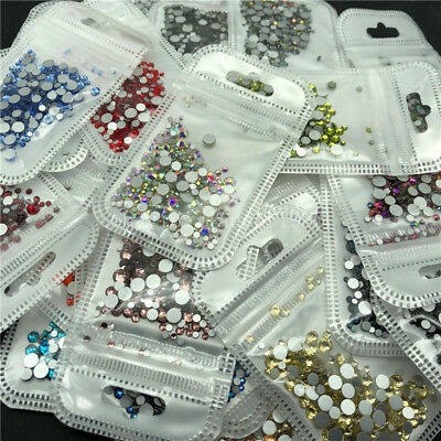 46 Colour 400p 2-5mm Crystal Flat Back Nail Art Rhinestones Glass Diamante Gems  • 1.79£