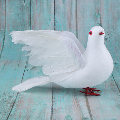 £3.84 • Buy White Doves Realistic Feather Artificial Flying Birds Wedding Decor Ornament