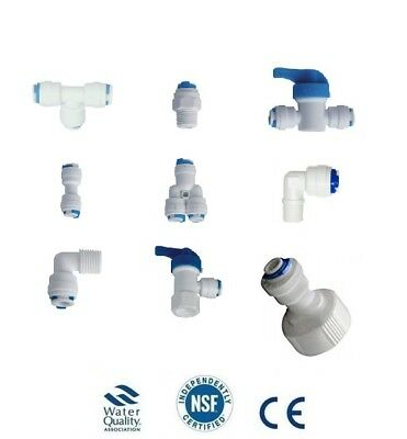 L69 1/4  Push Fit Pipe Fittings RO Reverse Osmosis Fridge Fittings T Piece Elbow • 1.99£