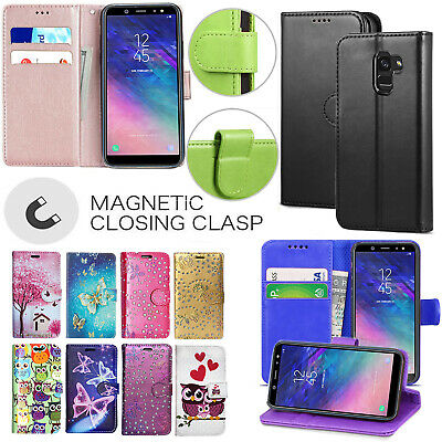 Samsung Galaxy A6 A7 A8 A9 2018 Genuine Black Leather Wallet Phone Case Cover • 3.35£