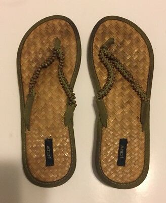 £7.23 • Buy J. Crew Womens Wooded Bamboo Bead Thong Flip Flop Sandal Made In Italy -Size 9