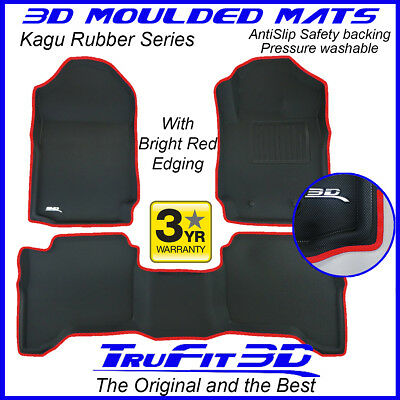 AU189 • Buy Fit Ford Ranger Dual Cab 2011-2020 Genuine 3D Rubber Floor Mats With RED Edge