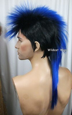 $28.99 • Buy Quality MOHAWK Wig ..Unisex .. Black Tipped In BLUE *