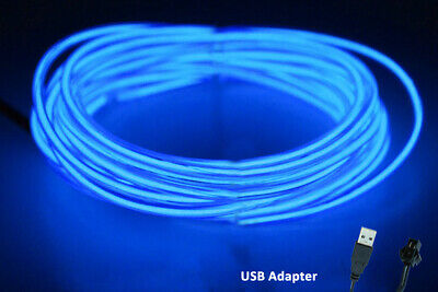 $6.99 • Buy 5M Neon LED Light Glow EL Wire String Strip Rope  Dance Party BLUE USB