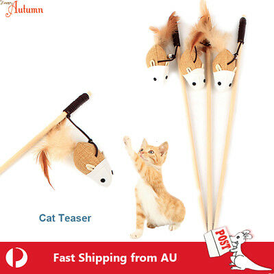 AU5.98 • Buy Cat  Play Toy Cloth Feather Teaser Wand Interactive Stick Kitten Pet Fun Rope #7