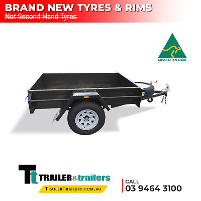 AU900 • Buy 7x4 SINGLE AXLE BOX TRAILER FOR SALE | SMOOTH FLOOR | 12  SIDES | BRAND NEW TYRE