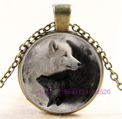 AU2.79 • Buy Necklace Yin Yang Wolf Photo Tibet Silver Cabochon Glass Pendant Chain Necklace