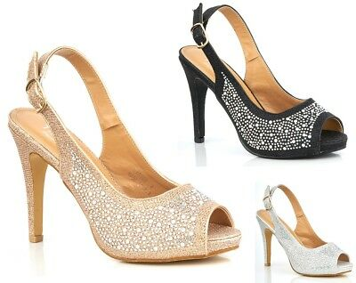 £17.59 • Buy New Ladies Slingback Diamante Party Evening Prom Glitter Open Toe Court Shoes