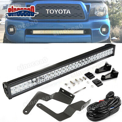 $71.56 • Buy For 05-15 TOYOTA Tacoma Bumper Hidden Grille 32 IN LED Light Bar Mount Kit+Wire