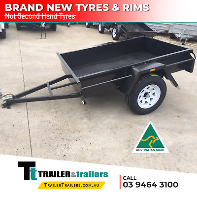 AU1190 • Buy 7x5 MEDIUM DUTY BOX TRAILER SALE | FIXED FRONT | CHECKER PLATE FLOOR | NEW TYRES
