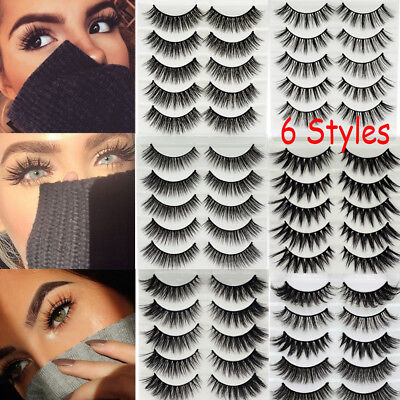 AU2.19 • Buy SKONHED 5 Pairs 3D Faux Mink Hair False Eyelashes Cross Long Lashes Handmade