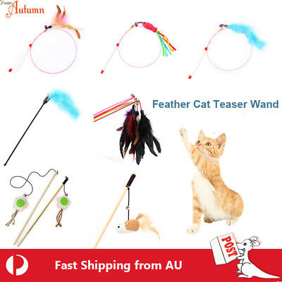 AU6.49 • Buy Feather Cloth Cat Teaser Wand Stick Play Toy Kitten Interactive Pet Fun Fish Fun