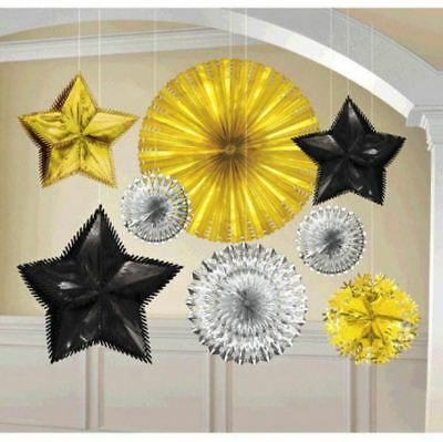 £10.85 • Buy 8 Count New Year's Eve Black Silver Gold Foil Starburst Party Decorating Kit