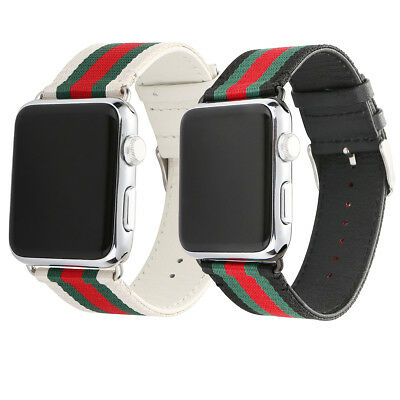5da4b39c3ab For Apple Watch Band Gucci Stripe Pattern Sport Replacement Leather Band  Strap • 11.99