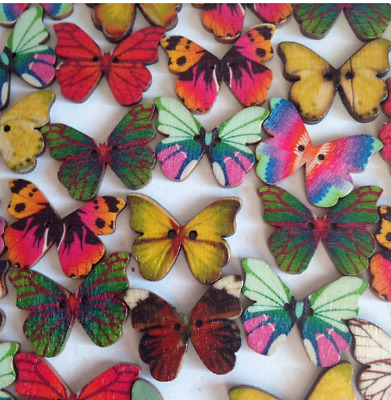 10 Wooden Butterfly Shapes, Size 21 X 27mm ~ Crafts Art Embellishments ~ New • 2.99£