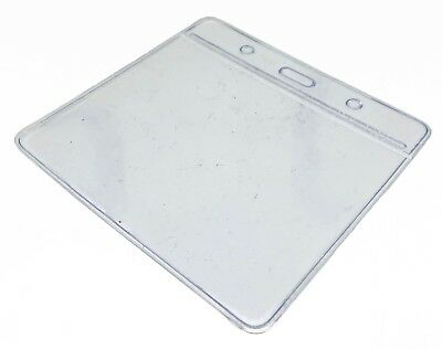 Clear ID Card Badge Pass Holder Pocket Plastic Wallet 5 Sizes Available FREEPOST • 2.25£