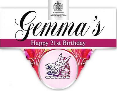 Personalised Gordons Pink Gin Bottle Label - Party / Birthday / Wedding Occasion • 2.90£