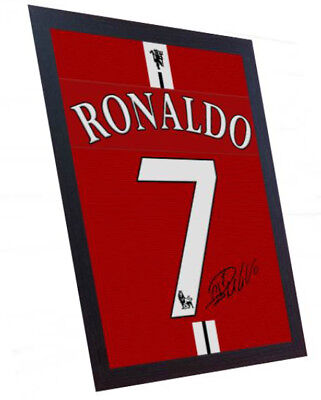 Cristiano Ronaldo Manchester United Signed Printed On CANVAS 100% Cotton Framed • 18.99£