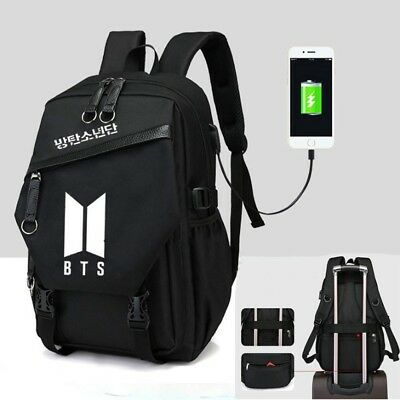$22.89 • Buy Kpop BT Canvas Schoolbag Canvas Laptop Travel Backpack With USB Jack Hole