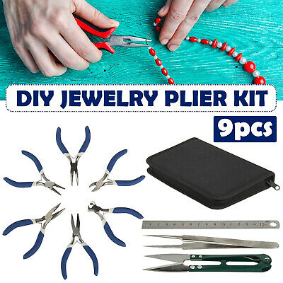 9pcs Jewellery Making Findings Beads Mini Pliers Craft Tool Set Wire Cutters Kit • 11.59£