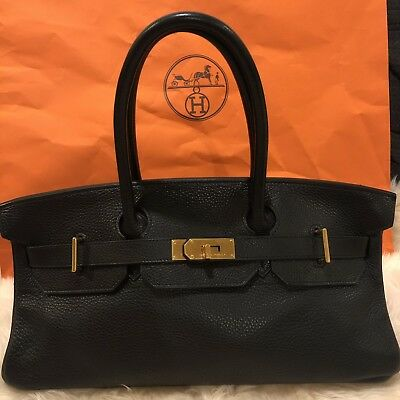 b45f5eea2965 Authentic Hermes JPG Shoulder Birkin Bag Black Togo With Gold Hardware W  Receipt • 5
