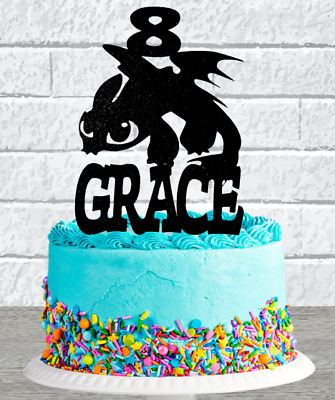 Personalised How To Train Your Dragon Any Name/age Glitter Cake Topper • 5.99£