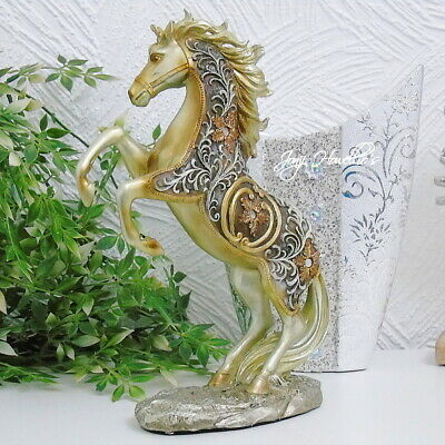 Large Gold Filigree Horse Rearing Ornament Figurine Statue Collectable 29cm • 19.99£