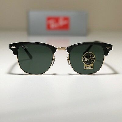 154230313 New Ray-Ban Clubmaster Classic Black LARGE RB3016 W0365 51-21 W G15 Green
