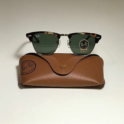 2052db372d New Ray-Ban Clubmaster Classic Tortoise RB3016 W0366 49-21 With G15 Green  Lens