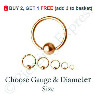 ROSE GOLD Ball Closure Ring BCR Captive Bead Hoop Steel Nose Eyebrow Septum Lip  • 1.69£