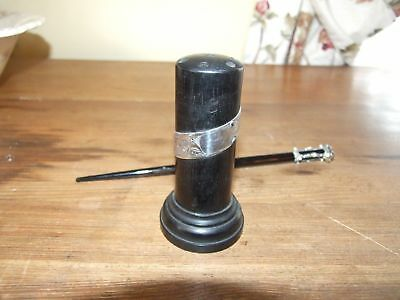 Antique Ebony Silver Mounted Hat Pin Stand Holder • 79£