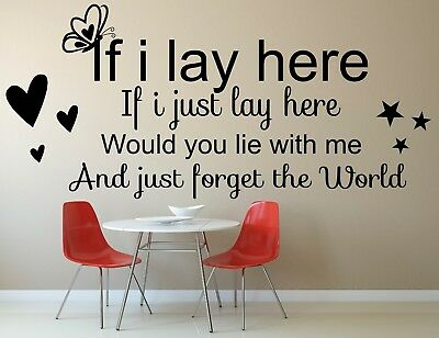 If I Lay Here Would You Lie With Me Quote Lettering Vinyl Wall Stickers Sticker • 9.99£