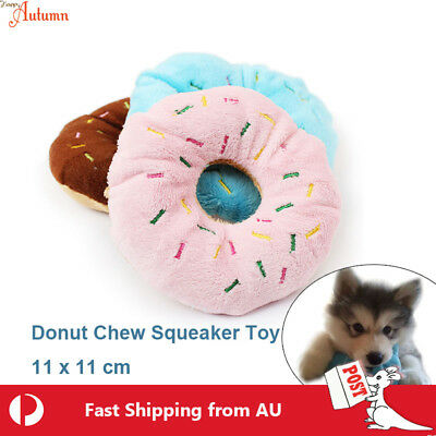 AU6.29 • Buy Dog Chew Donuts Toy Soft Squeaky Pet Puppy Squeaker Plush Training 11cm Fluffy