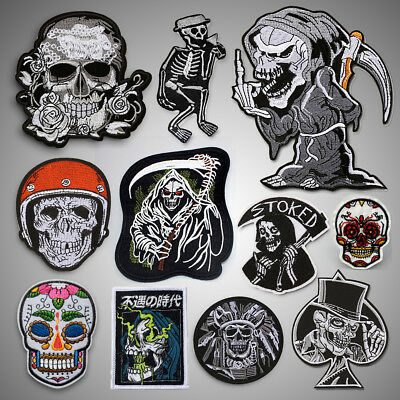 Skull Embroidered Sew On Iron On Patch Badge Fabric Clothes Vest Craft Transfer • 1.99£