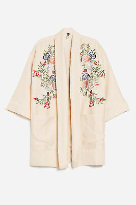 £11.87 • Buy Ex Topshop Ivory Embroidered Kimono Top Size 4- 16 RRP £69