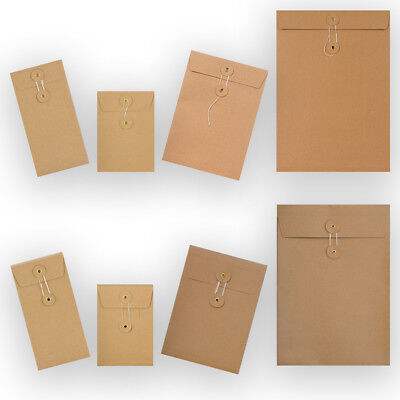 Manilla String & Washer Bottom & Tie Brown 10 25 50 100 Envelopes Cheapest • 5.40£
