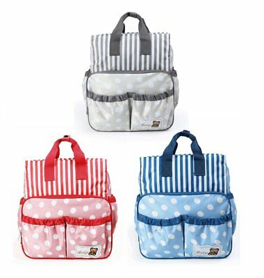 £9.99 • Buy CLEARANCE 029 Polka Dots Baby Nappy Mummy Diaper Changing Bag Backpack Set Bags