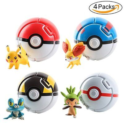 4 Pieces Anime Figures Pocket Monster Cartoon Pokeball Pop-up Toys Cosplay Gift • 8.59£