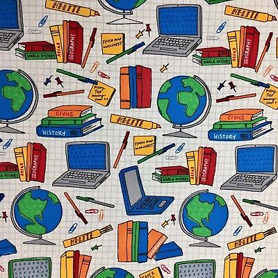 $4.84 • Buy  School Computer Pen Books Pin Globe Study Learning Tools Quilting Sewing Fabric