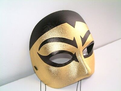 Fancy Dress Carnival Stag Party Mens Black & Gold ' Ming ' Chinese Half Mask  • 5.99£