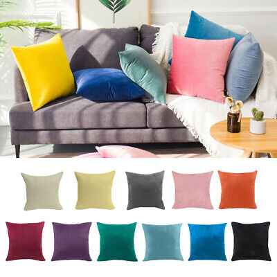 Sofa Throw Pillow Cover Velvet Solid Color Pillow Case 18x18 Inch/ 24x24inch • 4.99£