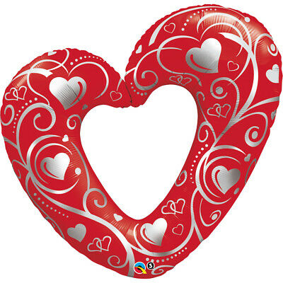 AU11.25 • Buy Party Supplies Valentines Day Love Giant Heart & Filigree Red Foil Balloon